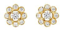 LoveBrightJewelry Diamond Flower Earrings 14K Yellow Gold 0.75 CT Diamonds