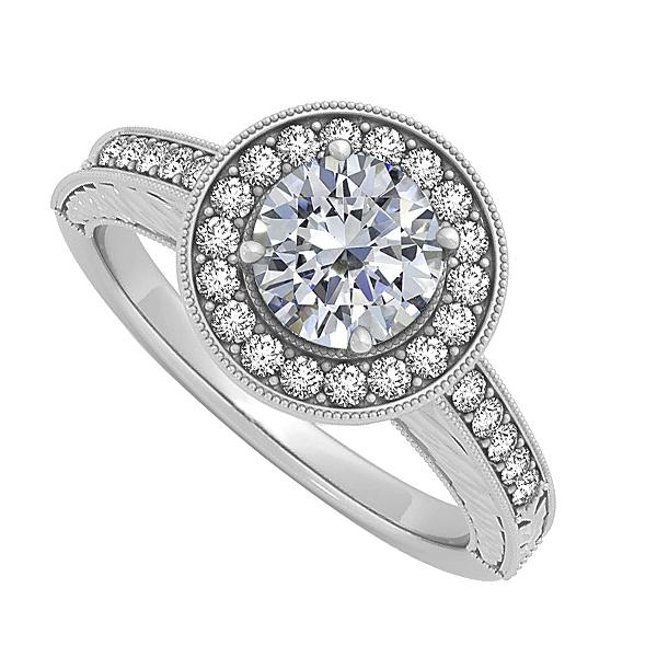 LoveBrightJewelry Diamond Halo Engagement Ring In 14k White Gold 0 50 Ct Tdw