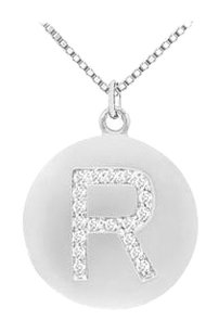 LoveBrightJewelry Diamond Initial R Disc Pendant 14K White Gold 0.33 CT Diamonds
