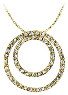 LoveBrightJewelry Double Circle Natural Diamonds Pendant 14K Yellow Gold