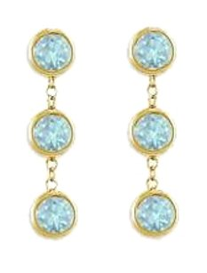 LoveBrightJewelry Drop Earrings Bezel Set Aquamarine in 18K Yellow Gold Vermeil on Silver