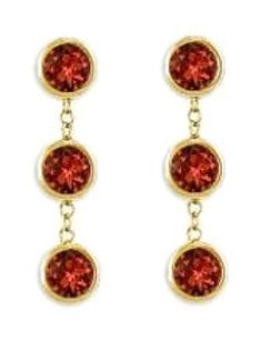 LoveBrightJewelry Drop Earrings Bezel Set Garnet in 18K Yellow Gold Vermeil on Silver