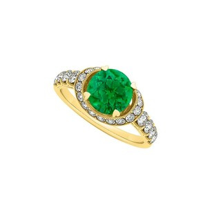 LoveBrightJewelry Emerald And Cubic Zirconia Ring In 18k Yellow Gold Vermeil Reasonable Price Range Best Design
