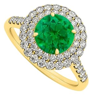 LoveBrightJewelry Emerald and Cubic Zirconia Ring in Yellow Gold Vermeil