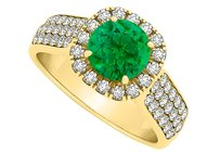 LoveBrightJewelry Emerald And Cubic Zirconia Wide Shank Halo Ring In 18k Yellow Gold Vermeil Cool Price Offer