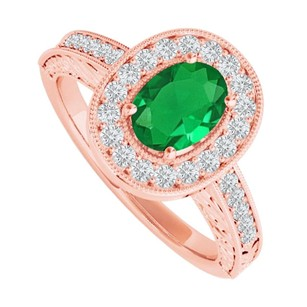 LoveBrightJewelry Emerald And Cz Halo Ring In 14k Rose Gold Vermeil