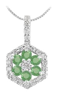 LoveBrightJewelry Emerald and Diamond Geometric Design Pendant 1.50 CT TGW