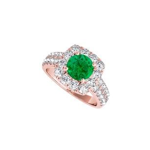 LoveBrightJewelry Emerald Cz Halo Engagement Ring In Rose Gold Vermeil