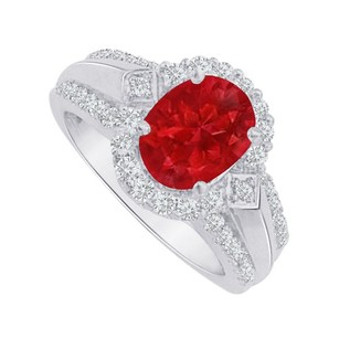 LoveBrightJewelry Fab Gift Ruby And Cz Designer Ring In 14k White Gold
