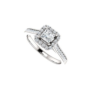 LoveBrightJewelry Fab Love 4x4 Square Cz Halo Ring In 14k White Gold