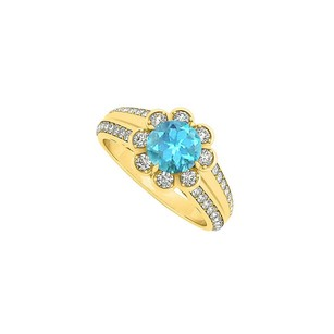 LoveBrightJewelry Fancy Blue Topaz and CZ Floral Ring in 18K Yellow Gold Vermeil