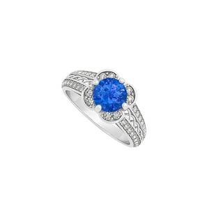 LoveBrightJewelry Fancy Criss Cross Two Row Diamonds And Center Sapphire Fashion Ring