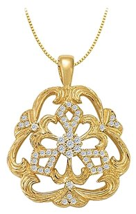 LoveBrightJewelry Fancy Cubic Zirconia Floral Pendant in 18K Yellow Gold Vermeil 0.25 CT TGW