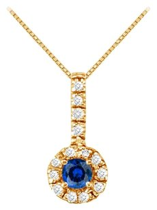 LoveBrightJewelry Fancy Round Sapphire and Cubic Zirconia Halo Pendant in 18K Yellow Gold Vermeil