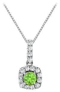 LoveBrightJewelry Fancy Square Peridot and Cubic Zirconia Halo Pendant in Sterling Silver
