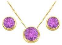 LoveBrightJewelry February Birthstone Amethyst Pendant and Stud Earrings Set in 18K Yellow Gold Vermeil