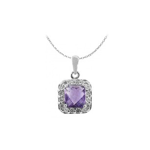 LoveBrightJewelry February Birthstone Amethyst With April Birthstone Cubic Zirconia Pendant In Sterling Silver
