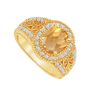 LoveBrightJewelry Filigree Design Cz And Citrine Ring In 14k Yellow Gold