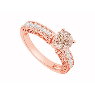 LoveBrightJewelry Filigree Design Holds Natural Morganite And Diamonds On 14k Rose Gold Engagement Ring