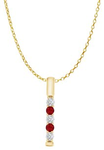 LoveBrightJewelry Five Stone Ruby CZ Vertical Bar Pendant in Yellow Gold