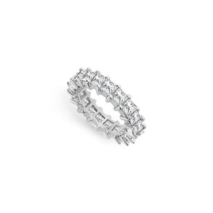 LoveBrightJewelry Four Carat Cubic Zirconia Eternity Band In 14k White Gold Fourth Wedding Anniversary Jewelry