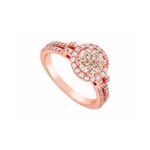 LoveBrightJewelry Four Prong Set Morganite And April Birthstone Diamond Engagement Ring In 14k Rose Gold