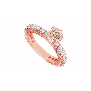 LoveBrightJewelry Pastel Pink Morganite And Cubic Zirconia On 14k Rose Gold Engagement Ring Milgrain Edge