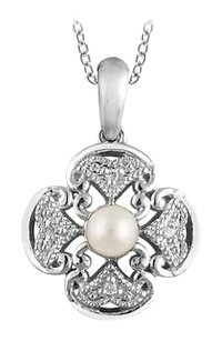LoveBrightJewelry Freshwater Cultured Pearl and Diamond Necklace 18 Inch in 925 Sterling Silver 0.02 Diamonds