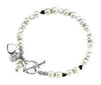 LoveBrightJewelry Friendship Bracelet With Pearls in Sterling Silver June Birthstone Jewelry