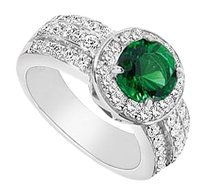 LoveBrightJewelry Frosted Emerald and Cubic Zirconia Ring 3.00 Carat Total Gem Weight