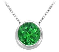 LoveBrightJewelry Frosted Emerald Bezel Set Solitaire Pendant 925 Sterling Silver 1 CT