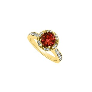 LoveBrightJewelry Garnet And Cubic Zirconia Designer Engagement Ring 18k Yellow Gold Vermeil