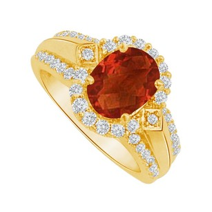 LoveBrightJewelry Garnet And Cz Halo Engagement Ring In Yellow Gold