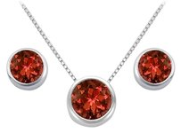 LoveBrightJewelry Garnet Pendant and Stud Earrings Set in Sterling SIlver 2.00 CT TGW