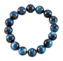 LoveBrightJewelry Genuine Blue Tiger Eye Stretch Bracelet 12.00 X 12.00 MM with 6.50 Inch