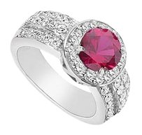 LoveBrightJewelry GF Bangkok Ruby and Cubic Zirconia Ring 3.00 Carat Total Gem Weight