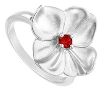 LoveBrightJewelry GF Bangkok Ruby Flower Ring 925 Sterling Silver 0.10 Carat Total Gem Weight