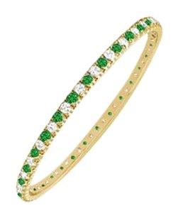 LoveBrightJewelry Gift Her Emerald and Cubic Zirconia Eternity Bangle