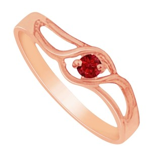 LoveBrightJewelry Glorious Ruby Prong Set Swift Twist Birthstone Mother Ring In 14k Rose Gold Gift For Her