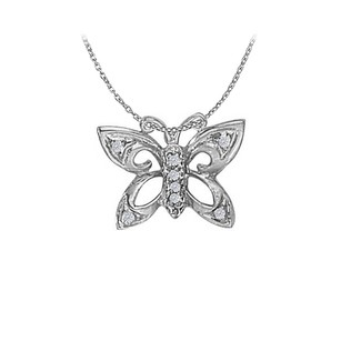 LoveBrightJewelry Gorgeous Jewelry Gift Cubic Zirconia Butterfly Pendant in 14K White