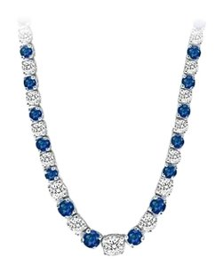LoveBrightJewelry Graduated Created Sapphire CZ Tennis Necklace 17.00.ct.tw