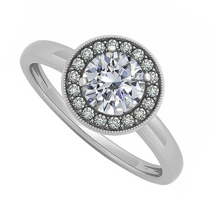 LoveBrightJewelry Halo Engagement Ring Natural Czs April Birthstone Sterling Silver