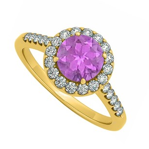 LoveBrightJewelry Halo Four Prong Set Amethyst February And Cubic Zirconia April Birthstone Engagement Ring