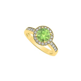 LoveBrightJewelry Halo Peridot August Birthstone With Cubic Zirconia Engagement Ring 18k Yellow Gold Vermeil