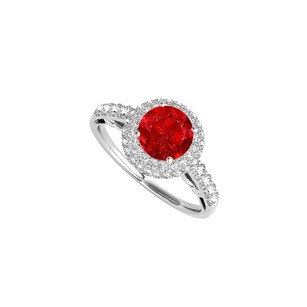LoveBrightJewelry Halo Ring With Ruby And Cz In 925 Sterling Silver
