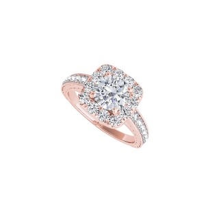 LoveBrightJewelry Halo Rose Gold Vermeil Ring With Round Cubic Zorconia