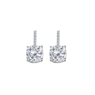 LoveBrightJewelry Hanging Style Cubic Zirconia White Gold Stud Earrings