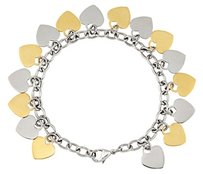LoveBrightJewelry Heart Dangle Bracelet with Immersion Plate in Stainless Steel 8 Inch Long