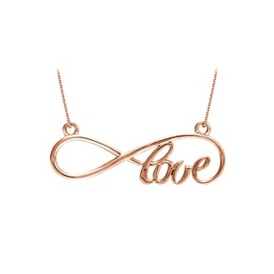 LoveBrightJewelry Ideal Gifting Love Infinity Design Necklace in 14K Rose Gold Vermeil