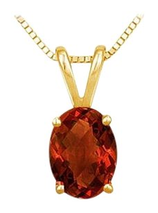 LoveBrightJewelry January Birthstone Oval Garnet Pendant in Gold Vermeil